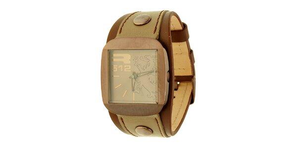 Unisexové hnedo-béžové analogové hodinky RG512