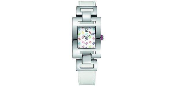 Dámske oceľové hodinky s farebným hranatým ciferníkom Tommy Hilfiger