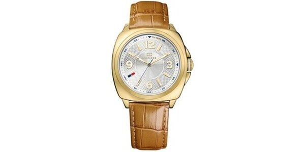 Dámske pozlátené oceľové hodinky s hnedým koženým remienkom Tommy Hilfiger