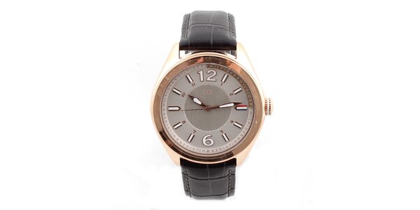 Dámske hodinky so vzorovaným koženým remienok Tommy Hilfiger