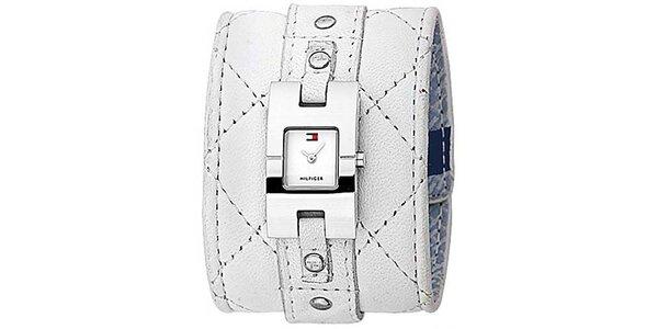 Dámske biele hodinky s prešívaným koženým remienkom Tommy Hilfiger