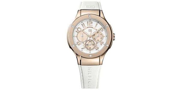 Dámske hodinky s ružovými detailmi a bielym remienkom z kože Tommy Hilfiger