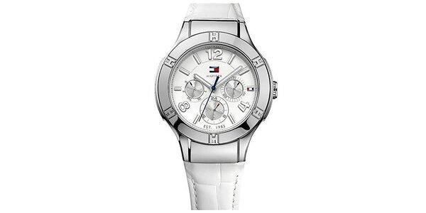 Dámske hodinky s bielym ciferníkom a bielym remienkom z kože Tommy Hilfiger