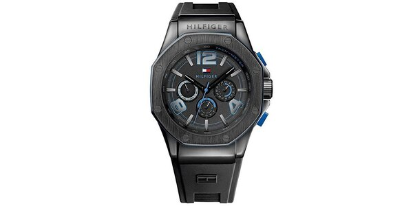 Pánske antracitové hodinky so silikónom Tommy Hilfiger