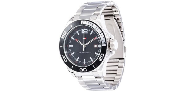 Pánske oceľové hodinky s guľatým čiernym ciferníkom Tommy Hilfiger