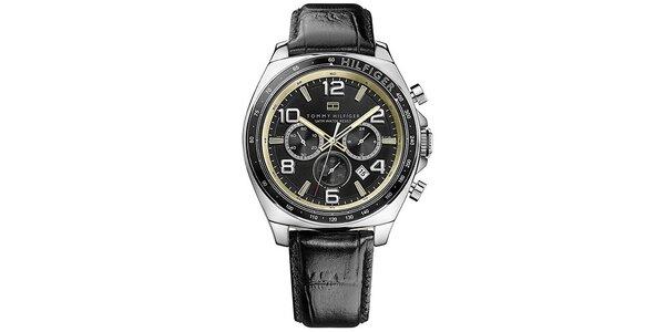Pánske oceľové hodinky s guľatým ciferníkom a koženým remienkom Tommy Hilfiger