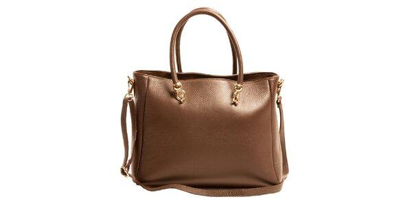 Dámska hnedá priestranná kabelka z kože Joana and Paola