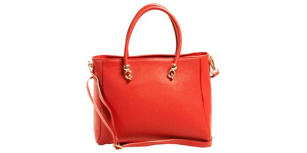 Dámska červená priestranná kabelka z kože Joana and Paola