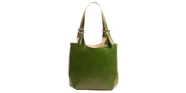 Dámska kožená kabelka v zelenej farbe Joana and Paola