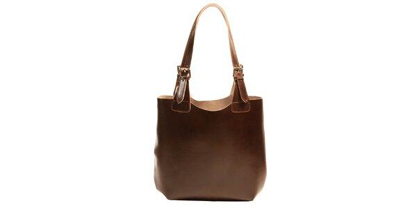 Dámska kožená kabelka v tmavo hnedej farbe Joana and Paola