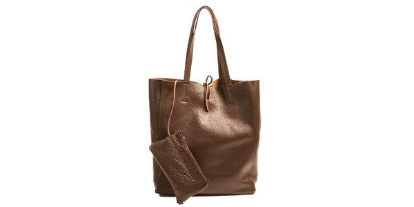 Dámska tmavo hnedá kožená kabelka s vreckom Joana and Paola