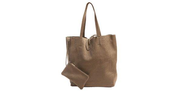Dámska šedá kožená kabelka s vreckom Joana and Paola