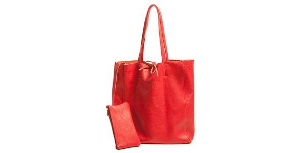 Dámska červená kožená kabelka s vreckom Joana and Paola