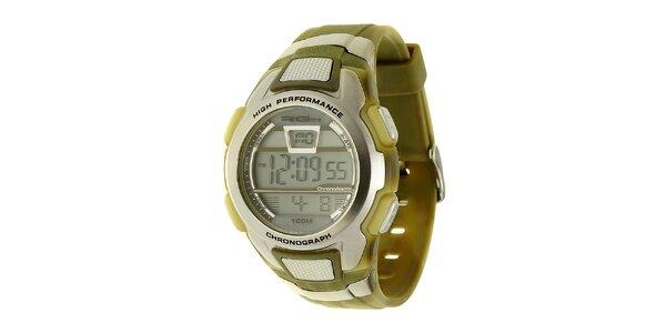 Unisexové strieborno-zelené digitálne hodinky RG512