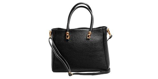 Dámska čierna priestranná kabelka z kože Joana and Paola