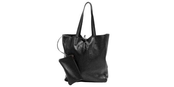 Dámska čierna kožená kabelka s vreckom Joana and Paola