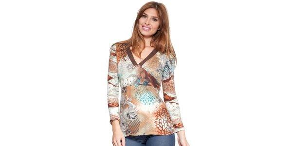 Dámske hnedobéžové tričko so vzorom Janis