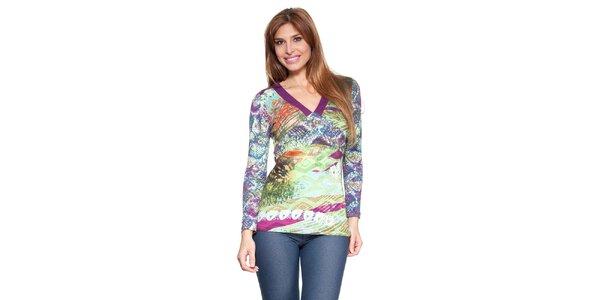 Dámske farebné tričko s fialovými lemami Janis