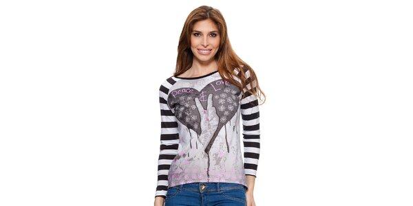 Dámske tričko s pruhovanými rukávmi Janis