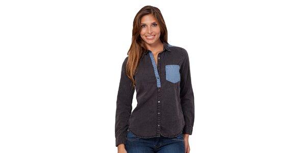 Dámska košeľa s modrým náprsným vreckom Janis