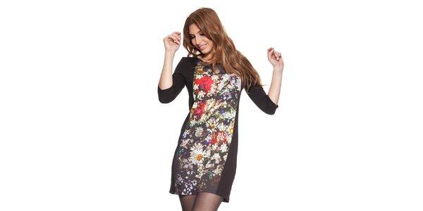 Dámske čierne šaty s kvetinovou potlačou Janis