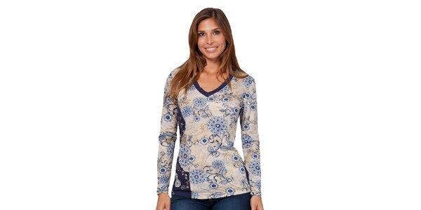 Dámske tričko s modrou kvetinovou potlačou Janis