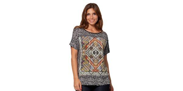Dámske vzorované čierne tričko Janis