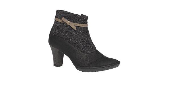 Dámske čierne členkové topánky s béžovou mašličkou TBS