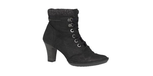 Dámske čierne členkové topánky so šnurovaním TBS