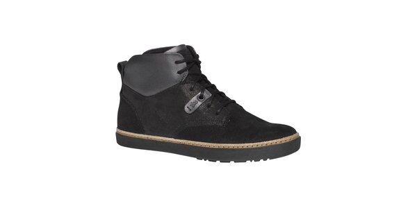 Dámske čierne členkové topánky TBS - šnurovacie