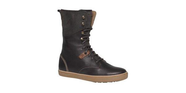 Dámske tmavo hnedé šnurovacie topánky TBS