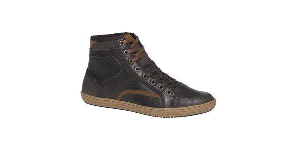 Pánske tmavo hnedé topánky TBS - členkové