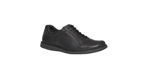 Pánske čierne kožené šnurovacie topánky TBS