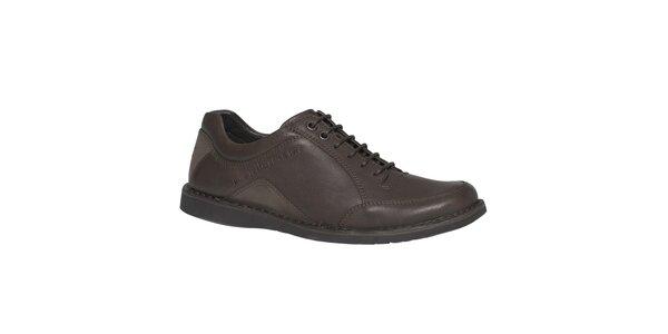 Pánske hnedé kožené šnurovacie topánky TBS