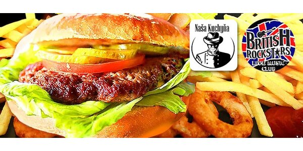 Hamburger + cibuľové krúžky + hranolčeky