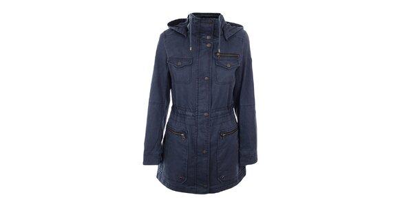 Dámsky tmavo modrý krátky kabát Halifax