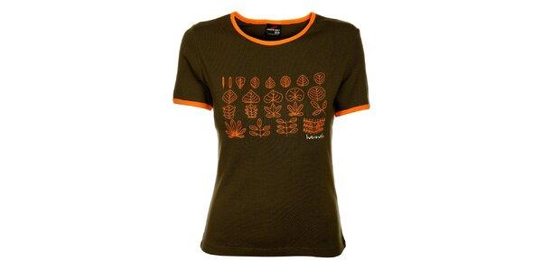 Dámske khaki tričko Hannah s oranžovou potlačou
