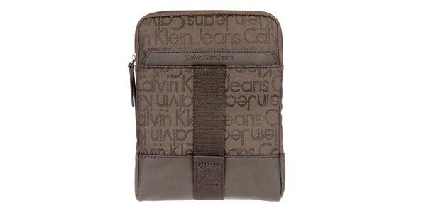 Pánska hnedá taška cez rameno s nápismi Calvin Klein Jeans