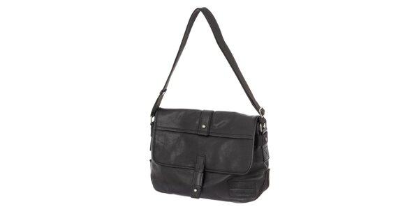 Pánska čierna kožená taška s ramenným popruhom Calvin Klein