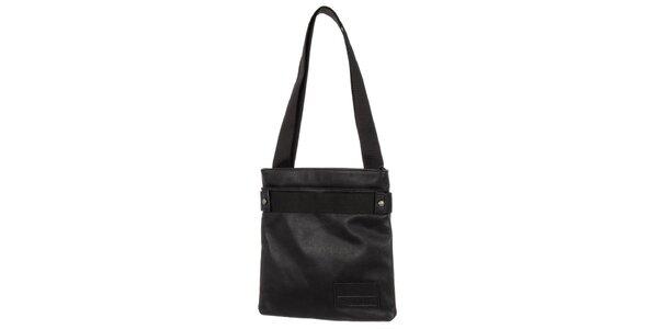 Pánska čierna kožená taška cez rameno Calvin Klein