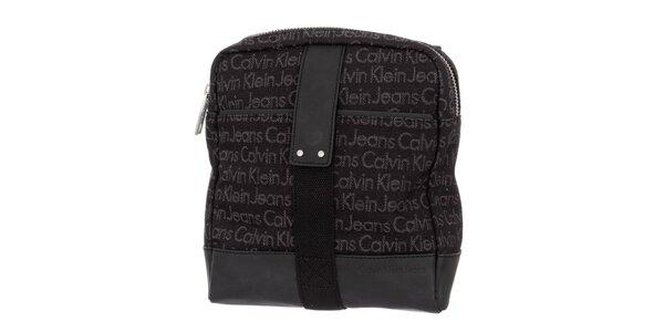 Pánska tmavo hnedá taška s nápismi Calvin Klein