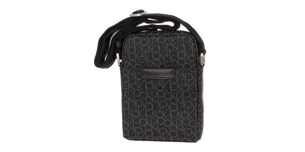 Pánska antracitová vzorovaná taška cez rameno Calvin Klein