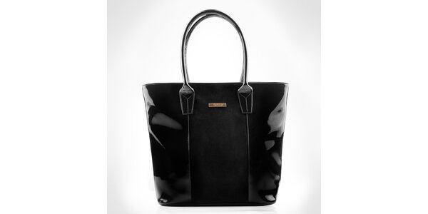 Dámska čierna zošívaná kabelka Felice