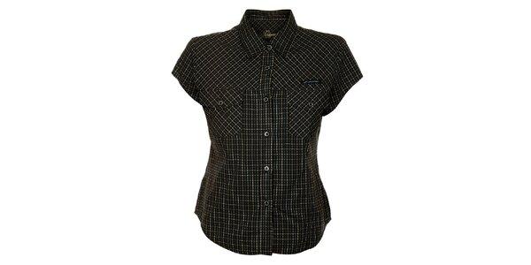 Dámska čierna bavlnená košeľa Hannah s kockovaným vzorom