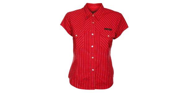 Dámska červená bavlnená košeľa Hannah s kockovaným vzorom