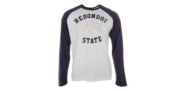 Pánske bavlnené modro-biele tričko Timeout
