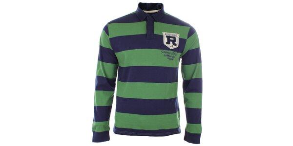 Pánske tričko s modro-zelenými pruhmi a límčekom Timeout