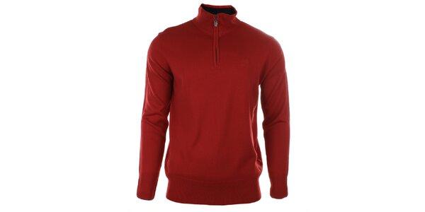 Pánsky červený sveter s rolákom na zips Timeout