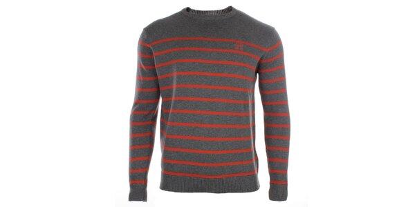 Pánsky šedý sveter s prúžkami Timeout