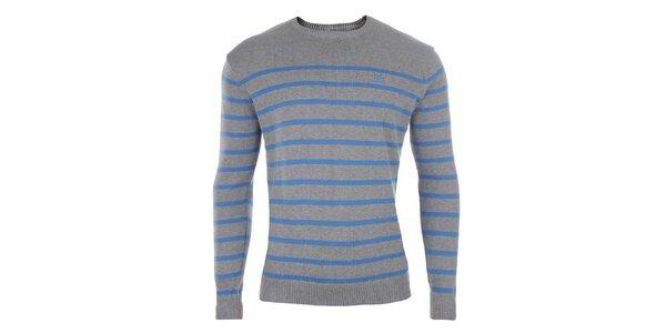 Pánsky šedý sveter s modrými pruhmi Timeout
